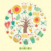 Cute garden motif. — Vector de stock