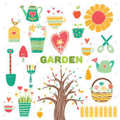 Cute garden set — Stock Vector