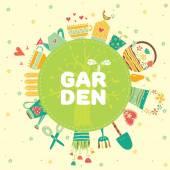 Renkli Bahçe yazıt — Stok Vektör