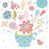 Flowers in pot with bird — Stock Vector