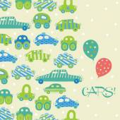 Seamless pattern with  toy cars. — Stock Vector