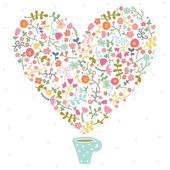 Tea with love and flowers — Stock Vector