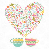 Tea with love and flowers. — Stock Vector