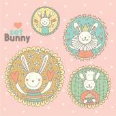 Cute set with bunnies — Stock Vector