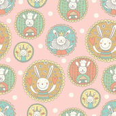 Seamless pattern with rabbits — Stock Vector