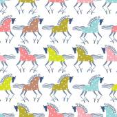 Colorful horses seamless pattern — Stock Vector