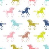 Pattern with colorful horses — Stock Vector
