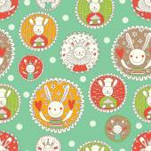 Seamless pattern with bunnies — Stock Vector