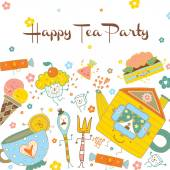 Tea party postcard — Stock Vector