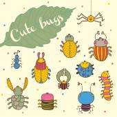Открытка с мультфильм насекомых — Cтоковый вектор