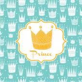 Greetings to the prince with a gold crown — Stock Vector