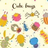 Симпатичные карточки с удовольствием насекомых. — Cтоковый вектор
