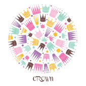 Cute postcard with crowns — Stock Vector