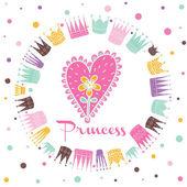 Princess postcard illustration. — Stock Vector