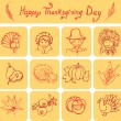 Happy Thanksgiving Day linear icons — Stock Vector #55556057