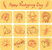 Happy Thanksgiving Day linear icons — Vector de stock