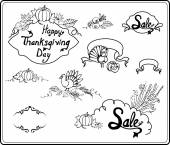 Thanksgiving Day in Sketch Style — Stock Vector