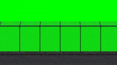 Ride along the security fence - green screen — Stock video