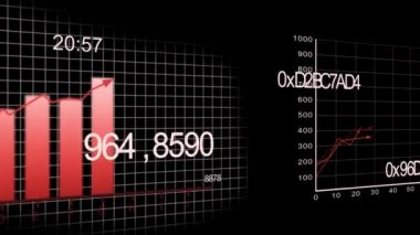 Growing charts animation on black BG -red- — Stock Video