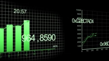 Growing charts animation on black BG -green- — Stock Video