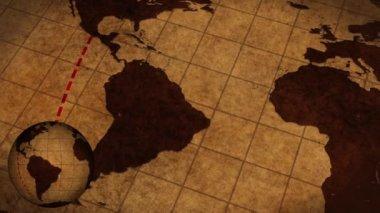 Vintage mapa del mundo — Vídeo de Stock