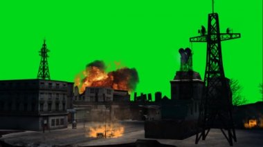 Combat stage city explosion — Stock Video