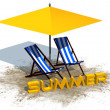 Summer lettering with deck chairs and umbrella - separated on white background — Stock Photo #78177362