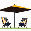 Deck chairs and umbrella - separated on white background — Stock Photo #78177902