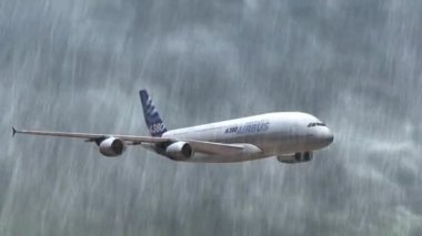 Airbus A-380 flying in the storm with rain - closeups tracking shot — Stock Video