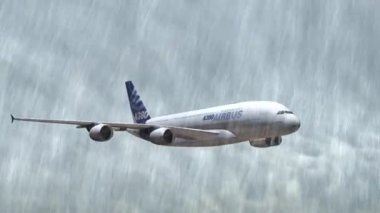 Airbus A-380 flying in the storm with thunder and rain - closeups tracking shot — Stock Video