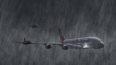 Airbus A380 escorted by F-16 fighter jets in storm and rain - close up — Stock Video