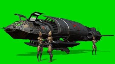 Aliens in front of her spaceship after landing - green screen — Stock Video