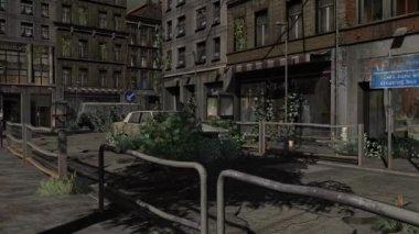 Apocalypse City dolly shot - Video Background — Stock Video