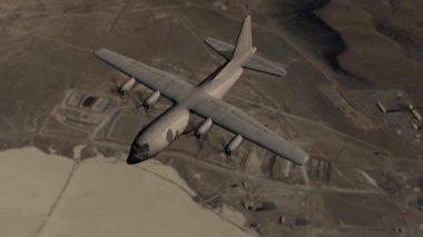 Aircraft Lockheed C130 Hercules in flight over desert area — Stock Video
