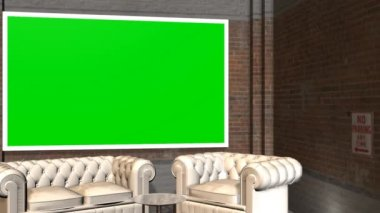 Virtual Studio Background with Green Screen wall animation — Stock Video