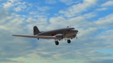 Airplane DC 3 in flight  - close up — Stock Video