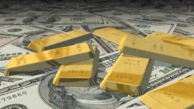 Dolly shot across Dollar bills and gold bars — Stock Video