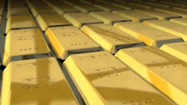 Dolly shot across 1 ounces gold bars — Stock Video