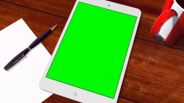 Tablet PC Pad - Green Screen - Advertisement Presentation — Vídeo stock