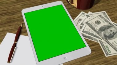 Tablet PC Pad Green Screen for Advertisement Presentation - Tracking shot over Tablet with 100 Dollar Bills — Stock Video