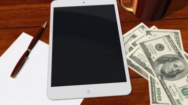 Tablet PC Pad Green Screen for Advertisement Presentation - Tracking shot over Tablet with 100 Dollar Bills — ストックビデオ