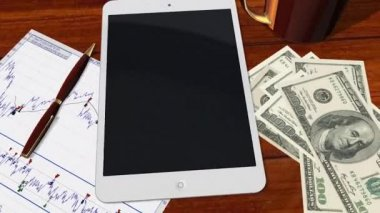 Tablet PC Pad Green Screen for Advertisement Presentation - Tracking shot over Tablet with 100 Dollar Bills — Stockvideo