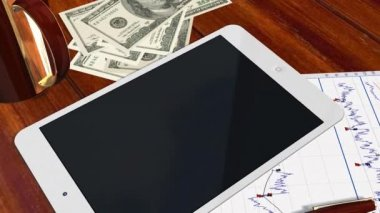 Tablet PC Pad Green Screen for Advertisement Presentation - Tracking shot over Tablet with Dollar Bills — Stock Video