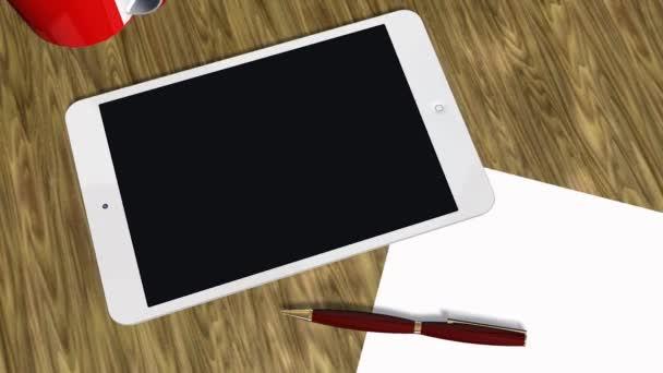 Tablet Pc Pad verde pantalla tracking shot - Anuncio presentación — Vídeo de stock