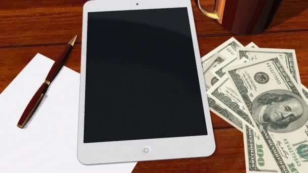 Tablet PC Pad Green Screen for Advertisement Presentation - Tracking shot over Tablet with 100 Dollar Bills — Vídeo de stock