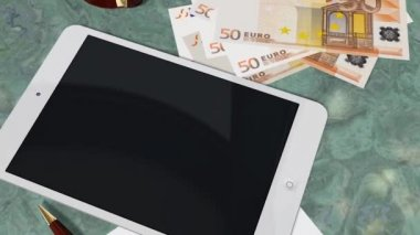 Tablet PC Pad Green Screen for Advertisement Presentation - Tracking shot over Tablet with 50 Euro Bills — Stock Video