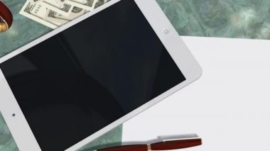 Tablet PC Pad Green Screen for Advertisement Presentation - Tracking shot over Tablet with Dollar Bills — Stockvideo