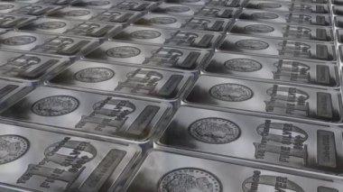 Dolly shot across 10 ounces silver bars — Stock Video