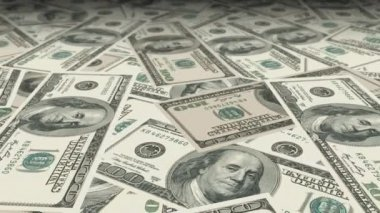 Dolly shot across a table filled with 100 Dollar bills with a nice shallow depth of field (DOF). — Stock Video