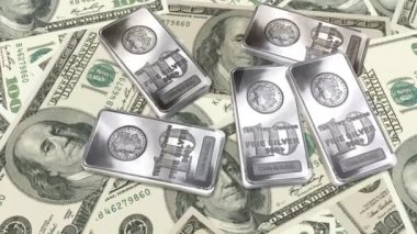 Dolly shot across 100 Dollar bills and silver bars - Money And Financials — Vídeo Stock